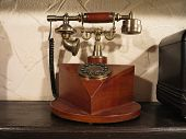 Vintage Old Style Wooden Phone With Retro Disc Dial