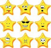 Set of nine cartoon gold stars