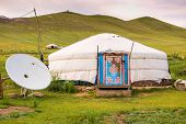 Mongolian Yurt On Steppe