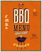 Vintage BBQ poster. Vector background.