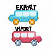 Export Import Vector Bus Icons
