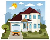 pic of victorian houses  - Vector illustration of family house in summer days - JPG