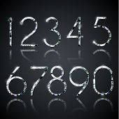 Set of shiny diamond digits with reflections - eps10 vector