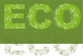 foto of environmentally friendly  - Eco lettering made from white leafs on green background - JPG