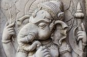 Close Up Ganesh Hindu God Face.
