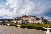 Base Potala Palace Sidewalk Front Lhasa Tibet