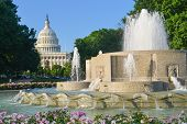 Washington DC - Fountain and US Capitol Building