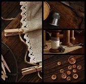 Rustic collage includes closeup images of antique sewing supplies (wooden spools, scissors, thimble,