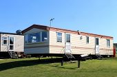 Side view of modern caravans in trailer park, Scarborough, England.