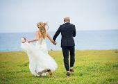 Wedding Couple, Happy romantic bride and groom in love running through field