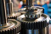 Metal gears close up