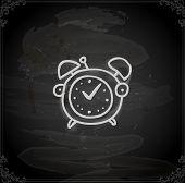 Alarm Clock. Cute Hand Drawn Vector illustration, Vintage Blackboard Texture Background. Chalkboard illustration variant.