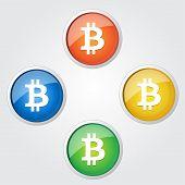 Bit Coin Sign  Vector Icon Button Set