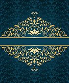 Vector Greeting Card With Golden Frame And  Seamless  Vintage Floral Pattern