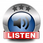 Listen live stream music sign song audio or radio button or icon