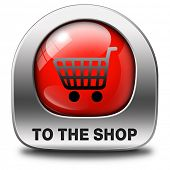 Shop now sign go to the online webshop button, internet web shopping icon