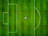 Soccer field penalty area and the ball on penalty point top view
