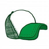 cartoon illustration of green trucker cap with place for your text