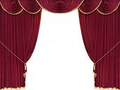 Red drop curtain with white copy space