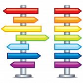Colorful Editable Guidepost. Vector