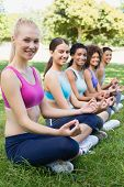Portrait of happy female friends performing yoga exercise at park