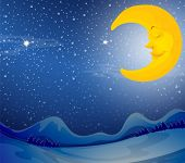 Illustration of a sleeping moon