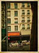 View from the window. Vintage parisian street.