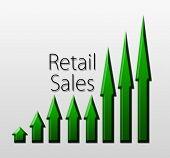 stock photo of macroeconomics  - Chart illustrating retail sales growth macroeconomic indicator concept - JPG