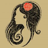 picture of beautiful women  - Vector Closeup decorative vintage grunge woman with beautiful hair  - JPG