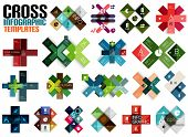Huge set of cross infographic templates #2 for business background | numbered banners | business lin