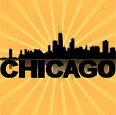Chicago skyline reflected with sunburst vector illustration