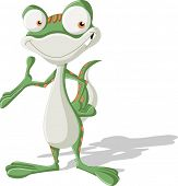 Happy cartoon green spotted gecko smiling