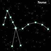 Taurus Zodiac Sign Bright Stars In Cosmos.vector Illustration