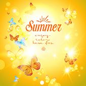 Positive summer background with sunshine and butterflie.? Vector holiday illustration.