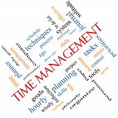 Time Management Word Cloud Concept Angled