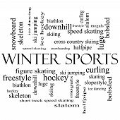 Winter Sports Word Cloud Concept In Black And White