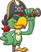 Cartoon pirate parrot looking through a spyglass. Vector clip art illustration with simple gradients. All in a single layer.