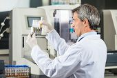 stock photo of urination  - Confident male researcher analyzing urine samples in lab - JPG