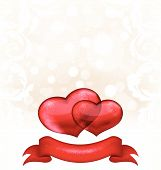 Valentine's Day Grunge Background With Hearts