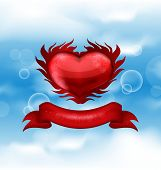 Red Heart On Blue Sky Background For Valentine's Day
