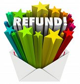 Refund Word Open Envelope Tax Return Money Back