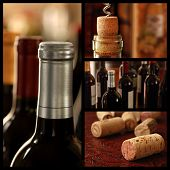 Wine collage includes images of unopened bottles of fine wine and closeups of corks with shallow dof