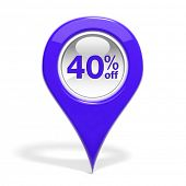 Sales round pin with 40% off isolated on white