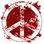 Peace Sign Red Messy Blot