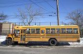 School bus in the front of public school in Brooklyn