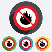 No Fire flame sign icon. Fire symbol.