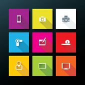Flat media icon set - vector illustration