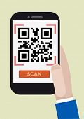 minimalistic illustration of hand holding a smartphone with a running QR-Code scan application, eps10 vector