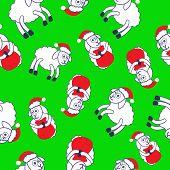 New Year's Sheeps Seamless Pattern