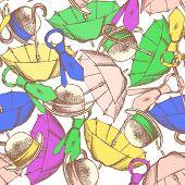 Sketch Umbrella, Hat And Tie
